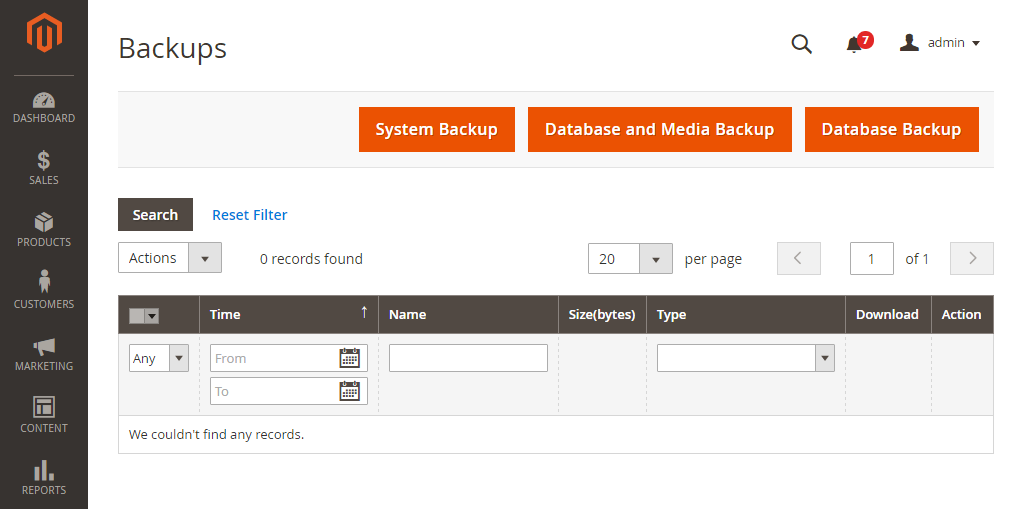 Magento Upgrade Select Backup types