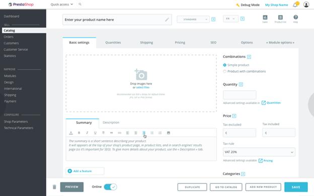 New interface PrestaShop 1.7